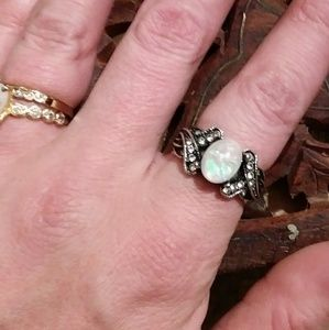 Vintage White Fire Opal and Crystal Marcasite ring